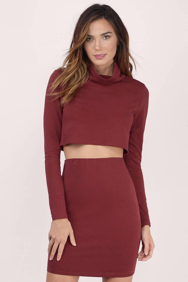 7e98dc6e352ba6 Featuring a slightly boxy crop top with draped mock neck and a high waisted  fitted min  shoptobi