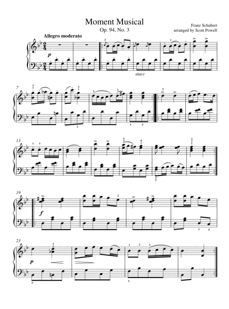 Moment Musical - Early Intermediate Piano   Easy Classical Piano