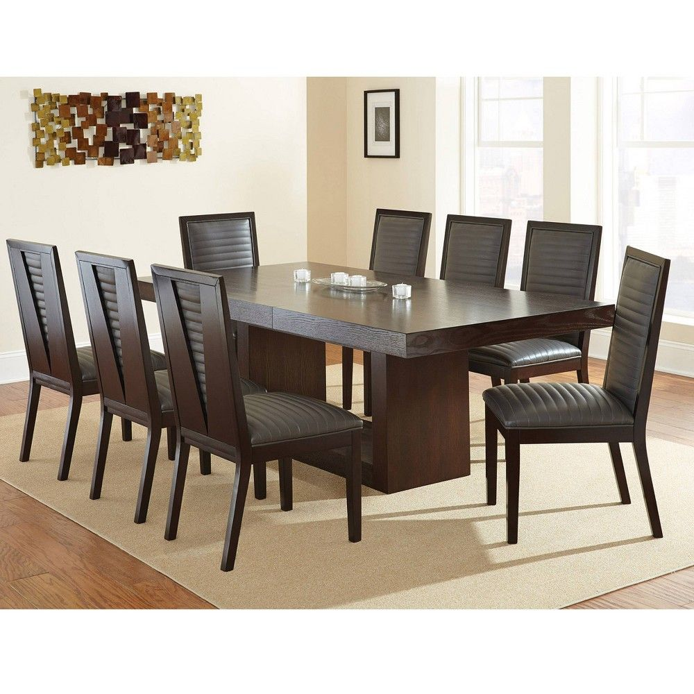 9pc Abbot Dining Set Gray Steve Silver Round Dining Room Contemporary Dining Room Sets Round Dining Room Sets