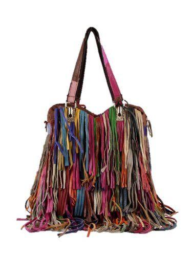 Leather Handbags Fringe Multi Color Bags Designer Inspired Purses