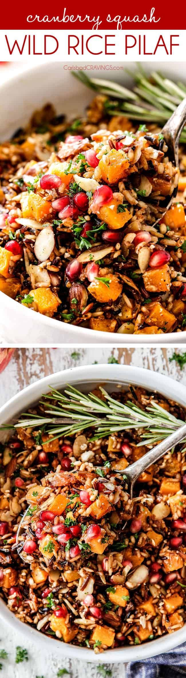 easy Wild Rice is PERFECT for the holidays!  It's simmered in herb seasoned broth and apple juice and riddled with savory, roasted butternut squash, sweet dried cranberries, sweet tart pomegranate seeds, crunchy almonds and creamy salty feta for an unbelievable side dish perfect for the holidays that can be made ahead of time! Everyone always asks for this recipe! #thanksgiving #thanksgivingrecipe #thanksgivingside #wildrice #rice #butternutsquash #cranberries #feta #pomegranate #holidayside #seasonedricerecipes