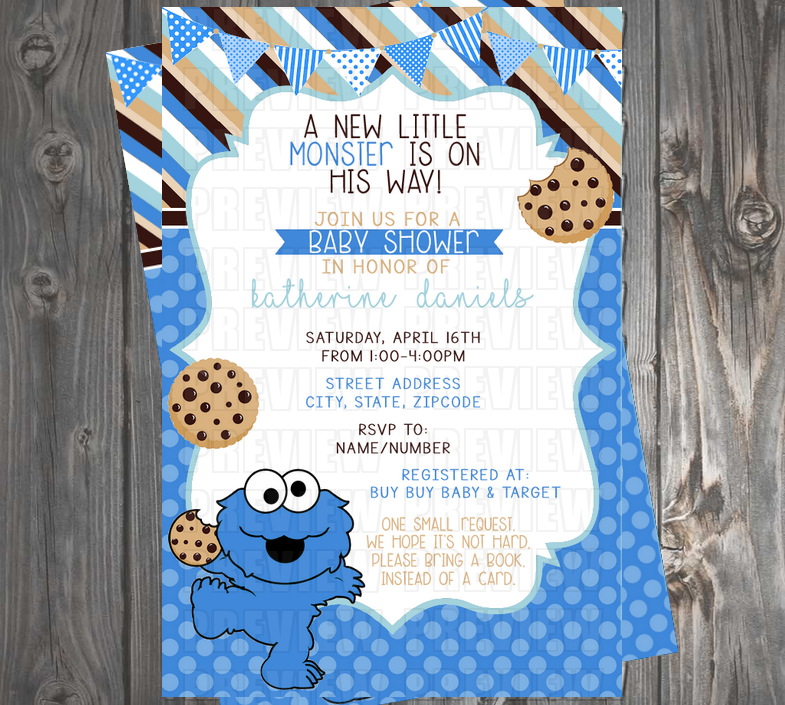 Cookie Monster Baby Shower Invitation Do Not Delete Custom Invitations Please M Monster Baby Showers Monster Baby Shower Invitations Baby Shower Invitations