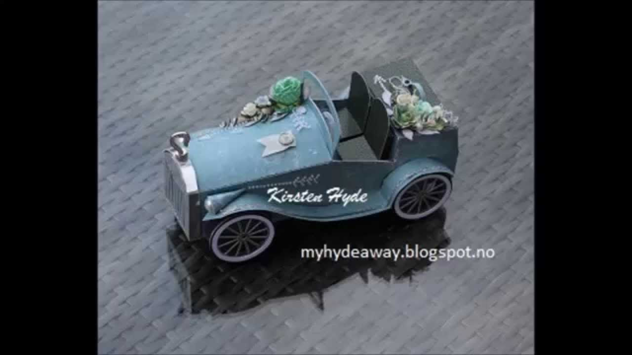Paper vintage car tutorial  Hochzeitskarten  Hochzeitsauto Hochzeit auto und Basteln mit