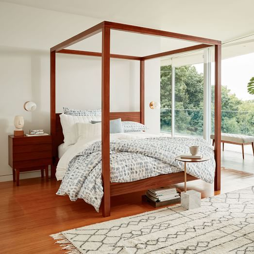 Wood Canopy Beds sawyer canopy bed | walnut veneer, bedrooms and lights