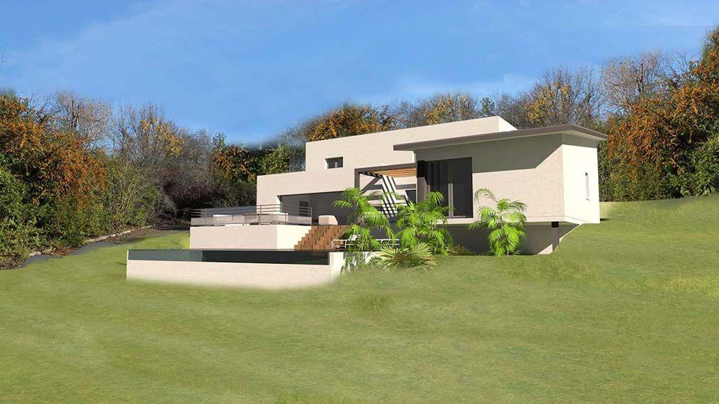maison contemporaine sur terrain en pente Plan maison Pinterest - plan de maison sur terrain en pente