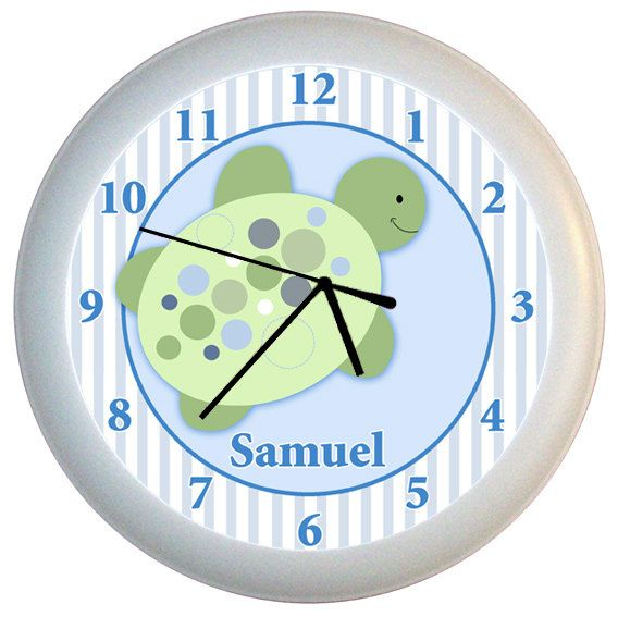 Turtle Reef Sea Turtle Nursery Wall Clock Personalized With Name Turtle Nursery Turtle Baby Rooms Sea Turtle Nursery