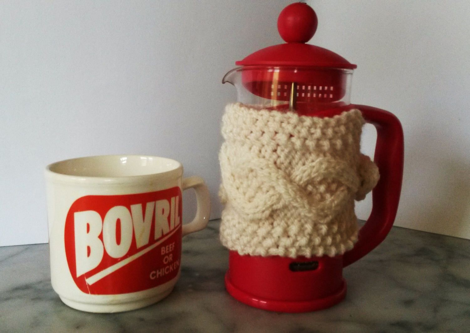 Mini Cafetiere Cosy Aran Knit Coffee Pot Made In Ireland French Press