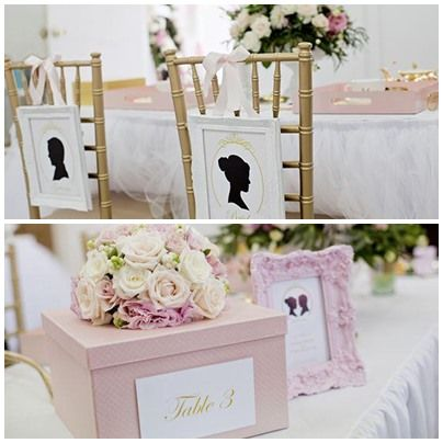 Wedding Table, Silhouette Theme, Pink And Gold, Bride And Groom Tablesetting,  Place