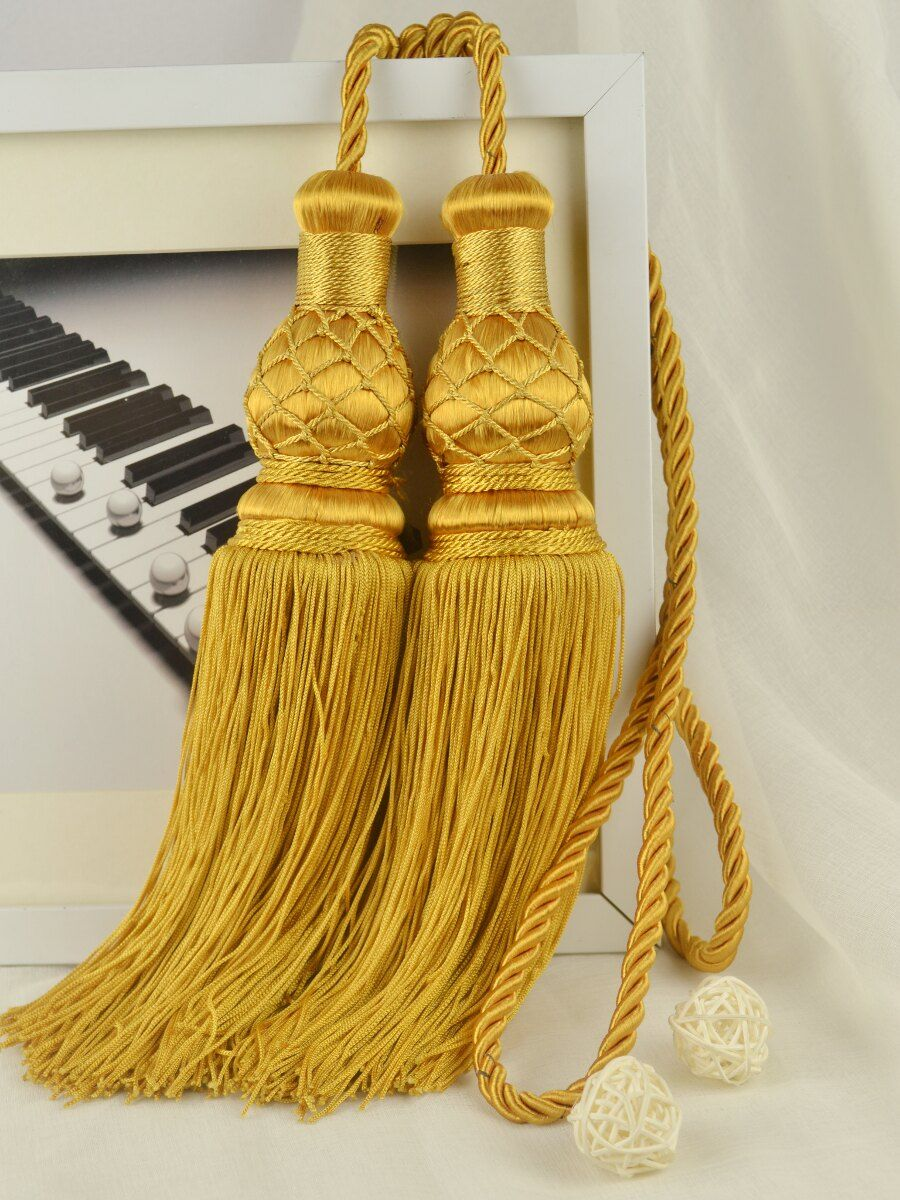 10 Colors Qym46 Polyester Curtain Tassel Tie Backs In Gold Yellow