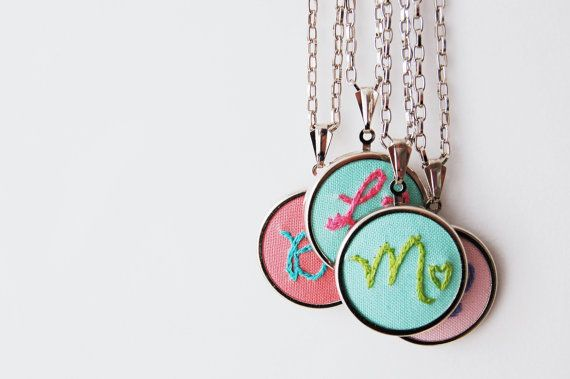 love this so much :: Custom Embroidered Initial Necklace by merriweathercouncil