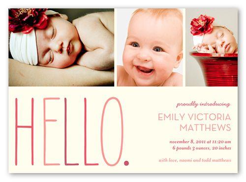 newborn girl announcement