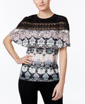 Yyigal Printed Lace-Inset Cape Top, a Macy's Exclusive Style  - Blush Multi XL