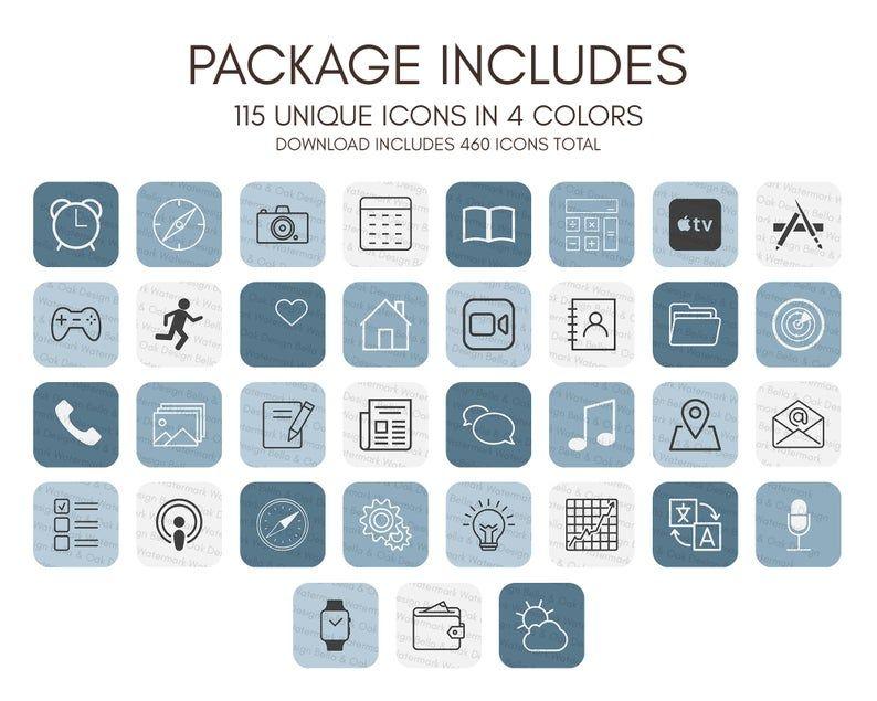 iOS14 App Icons Blue & White Theme, 460 IOS14 Icon