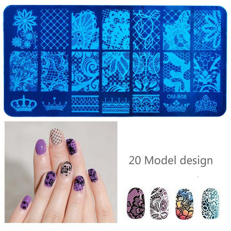 Stainless Steel Nail Art Stamping Plates Geometric patterns Monroe ...