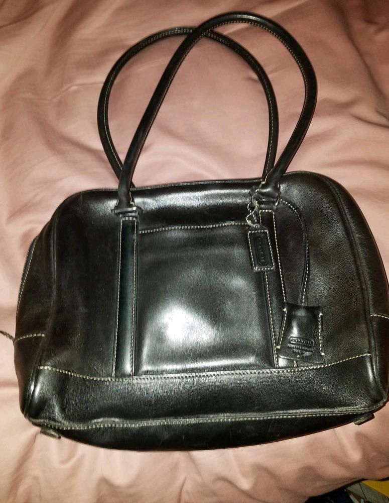 Coach Black Leather Handbag Bag Purse Designerhandbags