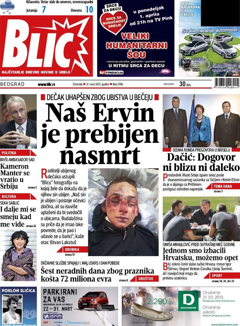 "Naslovna strana ""Blica"" za 21. mart 2013. Comic book"