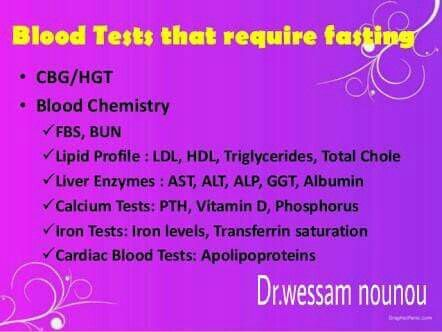 which blood tests need to be fasting?