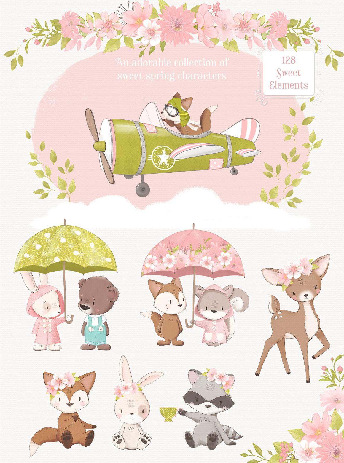 Hello Spring Woodland Animal Clipart Kit Pretty Little Lines Animal Clipart Woodland Animals Clip Art