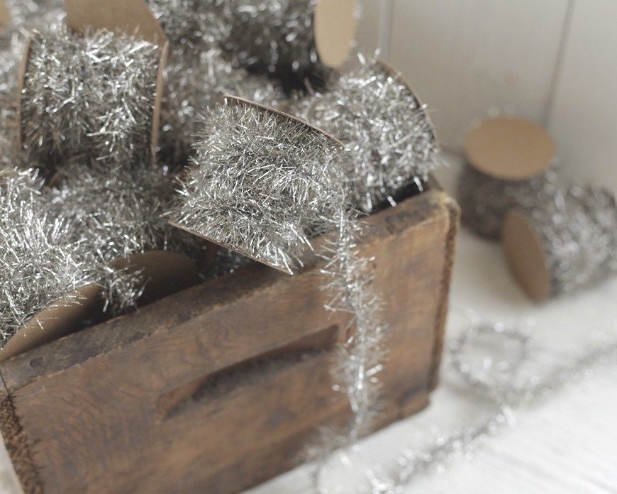 Tinsel garland silver vintage style christmas trim foot