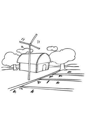 Ausmalbild Bauernhof Mit Windrad Ausmalbild Ausmalen Windrad