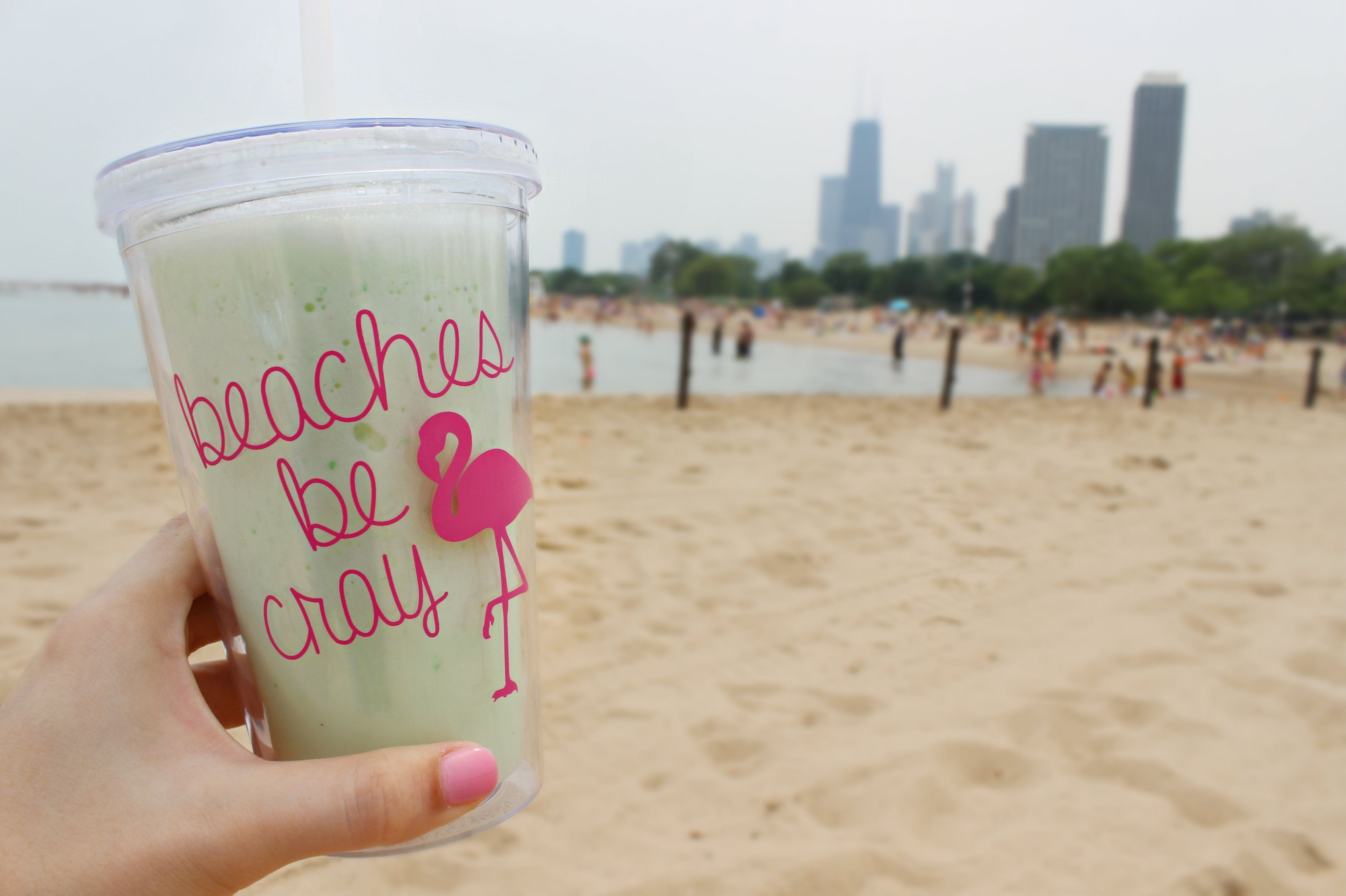 Everybody knows...beaches be cray! This witty (and punny) cold beverage tumbler is the perfection addition to your beach essentials. Fill it with your drink of choice (pictured is a kiwi honeydew smoothie) and head on over to your nearest beach for some fun in the sun! (Click here to purchase your own tumbler from The Trendy Sparrow - $20) #honeydewsmoothie Everybody knows...beaches be cray! This witty (and punny) cold beverage tumbler is the perfection addition to your beach essentials. Fill #honeydewsmoothie