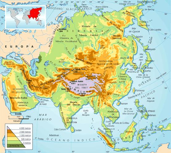 Mapa Geografico De Asia.Mapa Fisico De Asia Epicentro Geografico Mapa De Asia