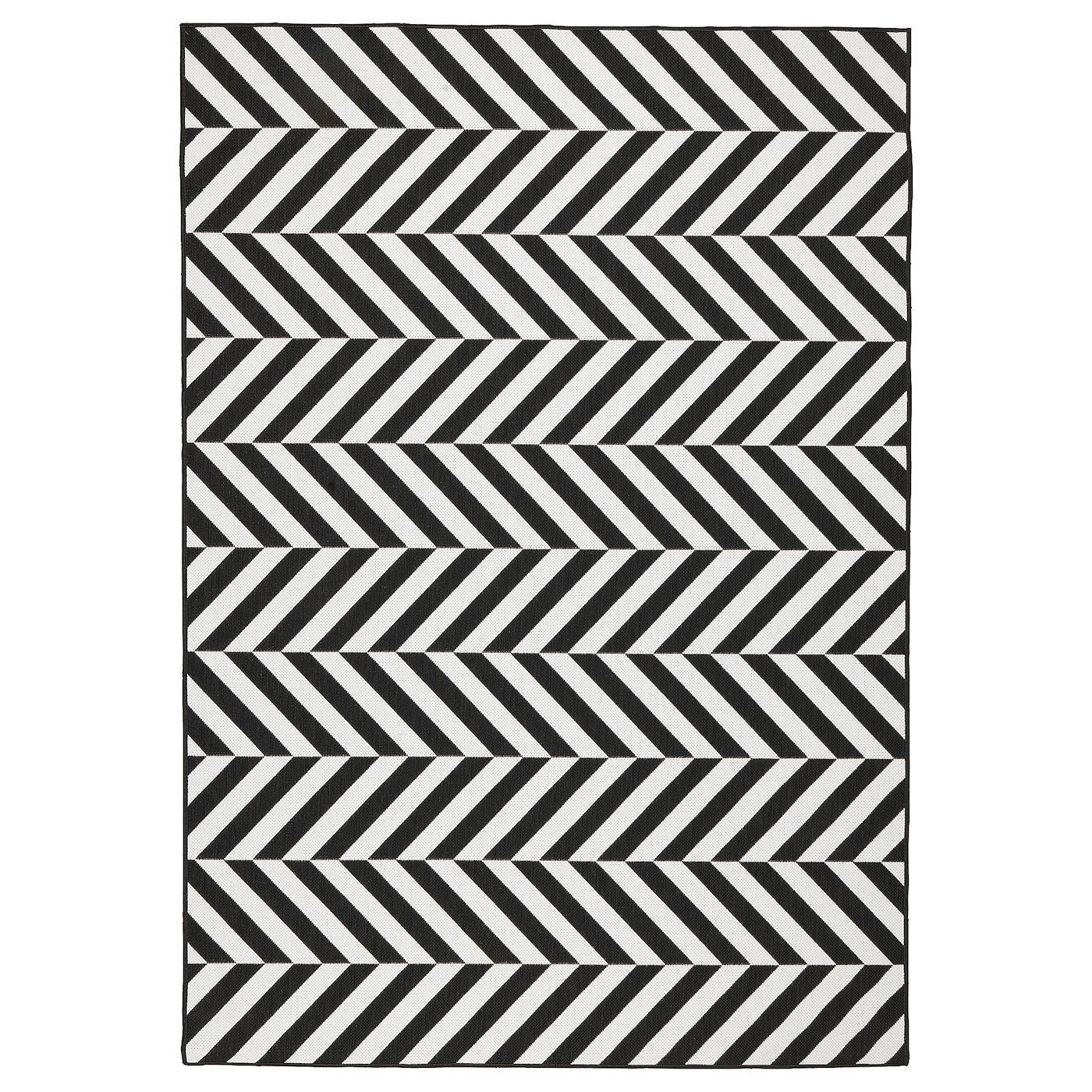 Skarrild Tapis Tisse A Plat Int Exterieur Blanc Noir 160x230 Cm Tapis Tisse Tapis Exterieur Tapis