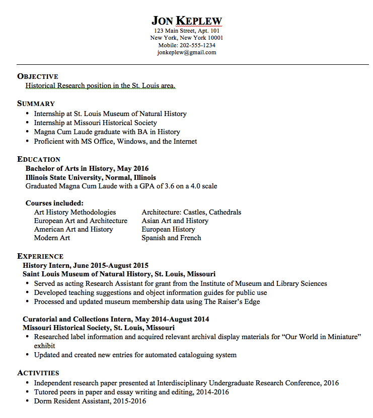 Historical Research Resume Samples Examples Resume Cv