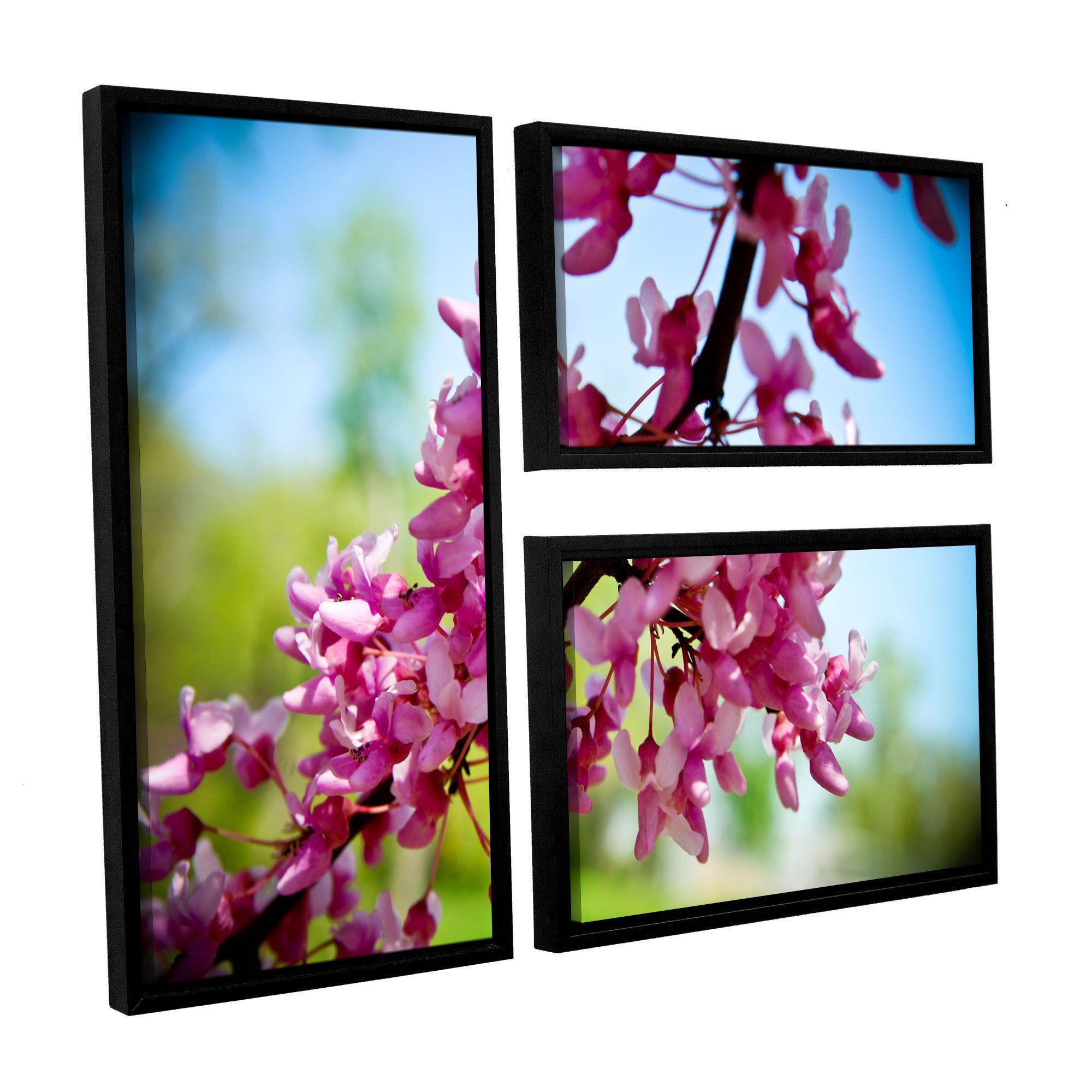 ArtWall Amber Berninger's 'Spring Redbud 3 Piece Floater Framed Flag Set