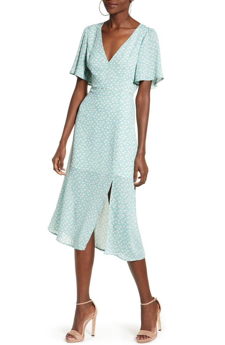 Leith Flutter Sleeve Midi Dress Nordstrom Spring Wedding Guest Dress Midi Dress With Sleeves Nordstrom Dresses [ 1196 x 780 Pixel ]