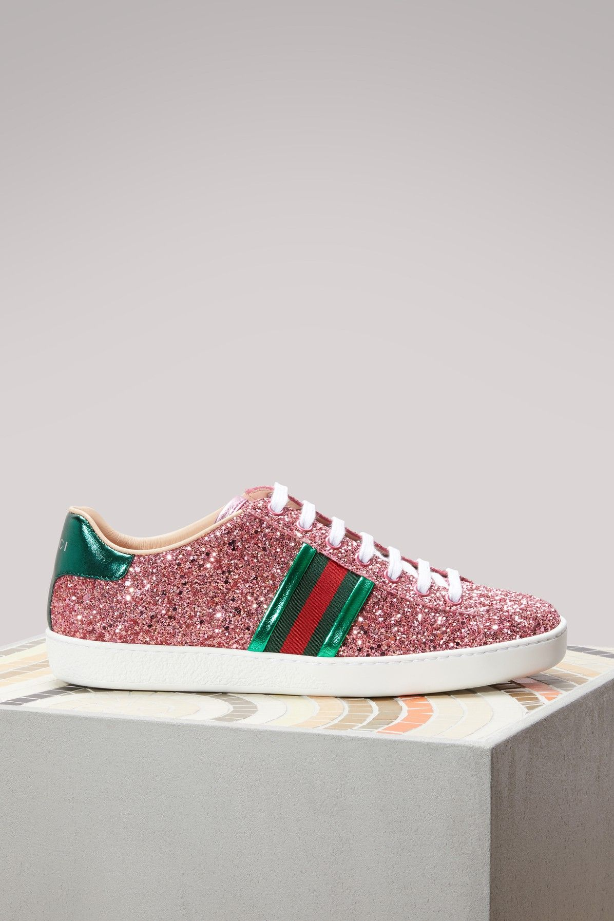 ba1870786 GUCCI Ace glitter low-top sneaker. #gucci #shoes # | Gucci | Shoes ...