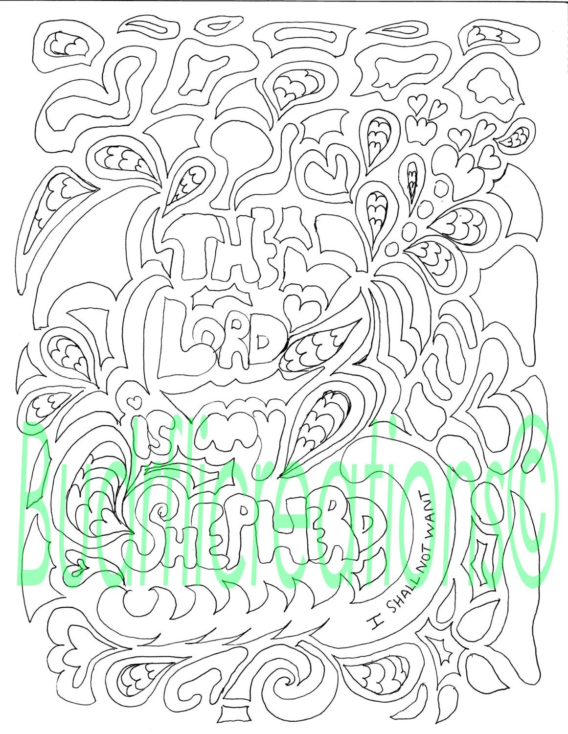 Psalms 23 The Lord is My Shepherd Adult Coloring Page Digital ...