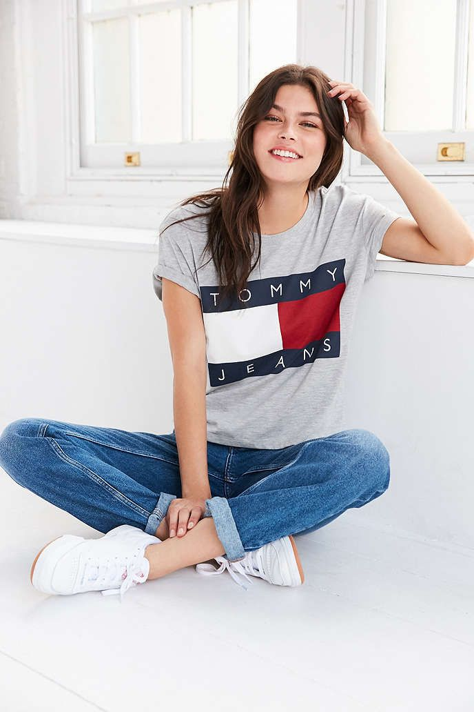 9969b590f UrbanOutfitters.com: Awesome stuff for you & your space Tommy Hilfiger |  grey | t shirt outfit