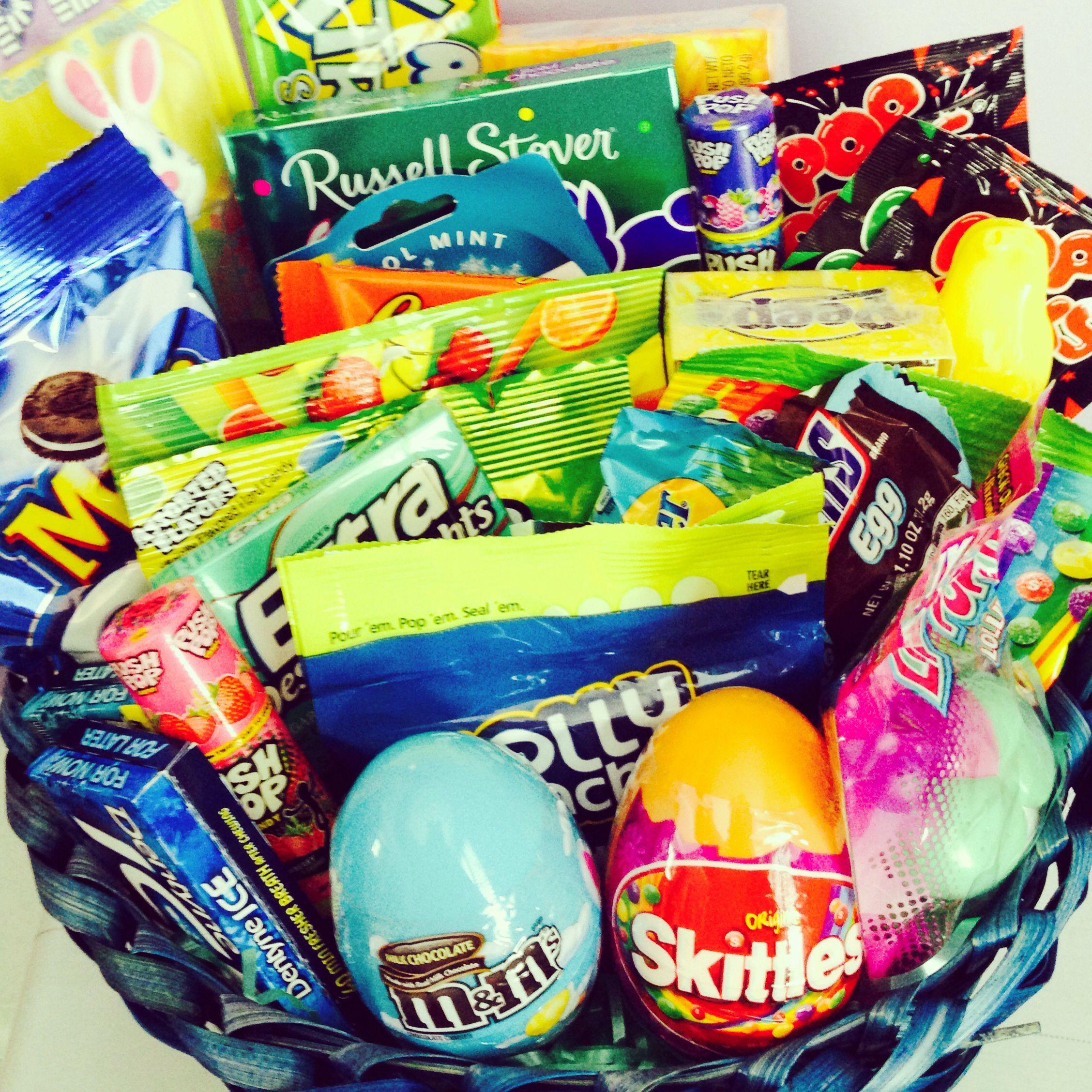 Easter basket i made for my boyfriend full of his favorite candies easter basket i made for my boyfriend full of his favorite candies negle Images