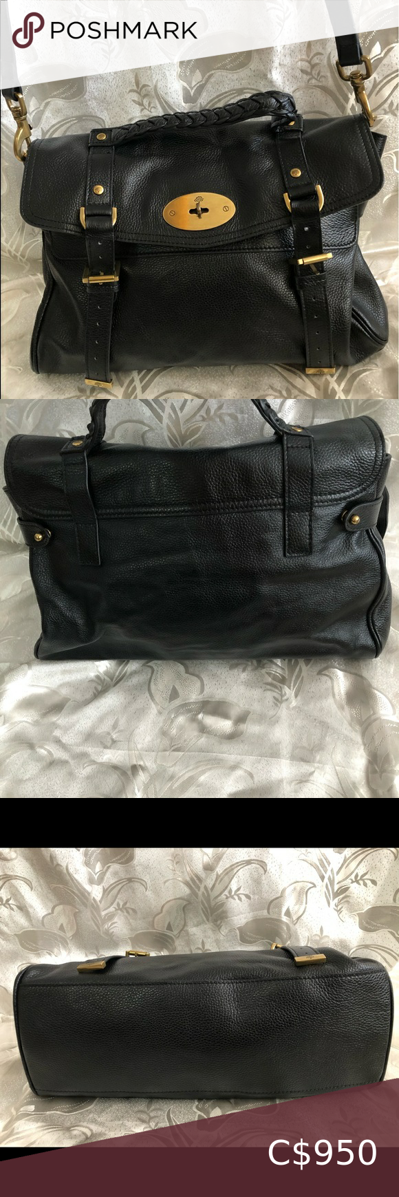 MULBERRY AUTHENTIC LEATHER BLACK TWO WAY BAG #mulberrybag