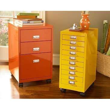 Yellow and orange painted file cabinets, home office organization ...