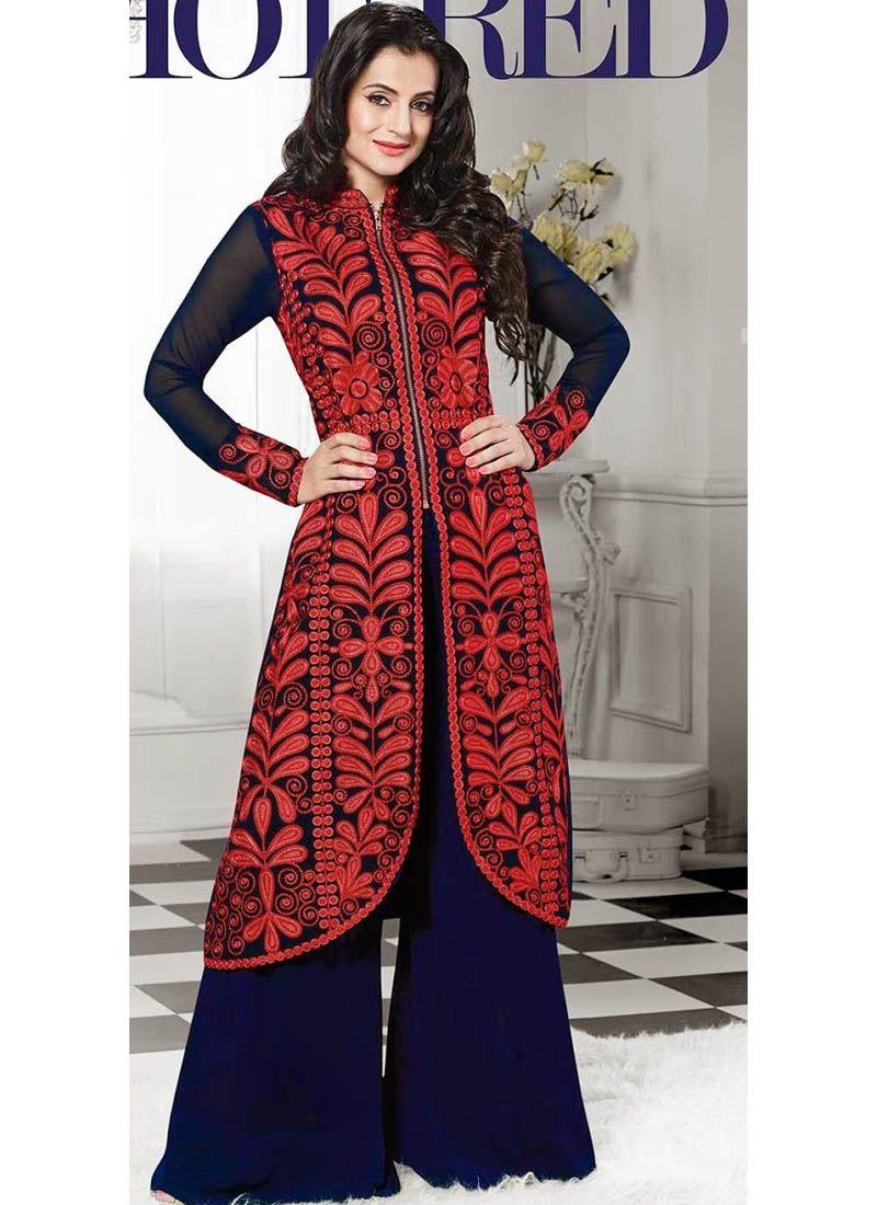 Shirt design with plazo - Designer Blue Plazo Suit With Resham Workq