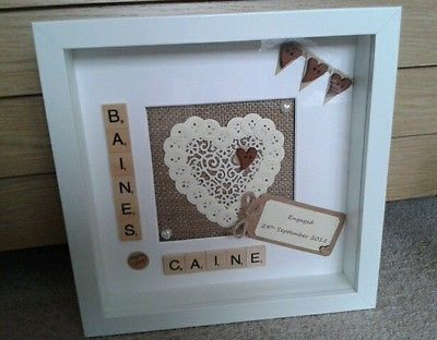 scrabble art personalised rustic engagement frame picture wedding gift keepsake - Engagement Picture Frames