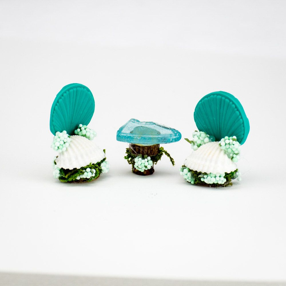 Aqua Shell Fairy Chairs, Fairy Garden Chairs with table, Fairy Accessories, Faerie Item, Mini Chairs with Table, Whimsical Fairy Furniture by IrmasCraftShop on Etsy