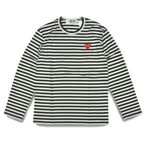 e346c8c0f248 Comme Des Garcons CDG Play Striped Long Sleeve Black White Red Heart s for  Women