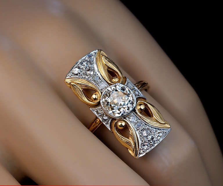 Art Nouveau Diamond Platinum Ring | From a unique collection of vintage more rings at https://www.1stdibs.com/jewelry/rings/more-rings/
