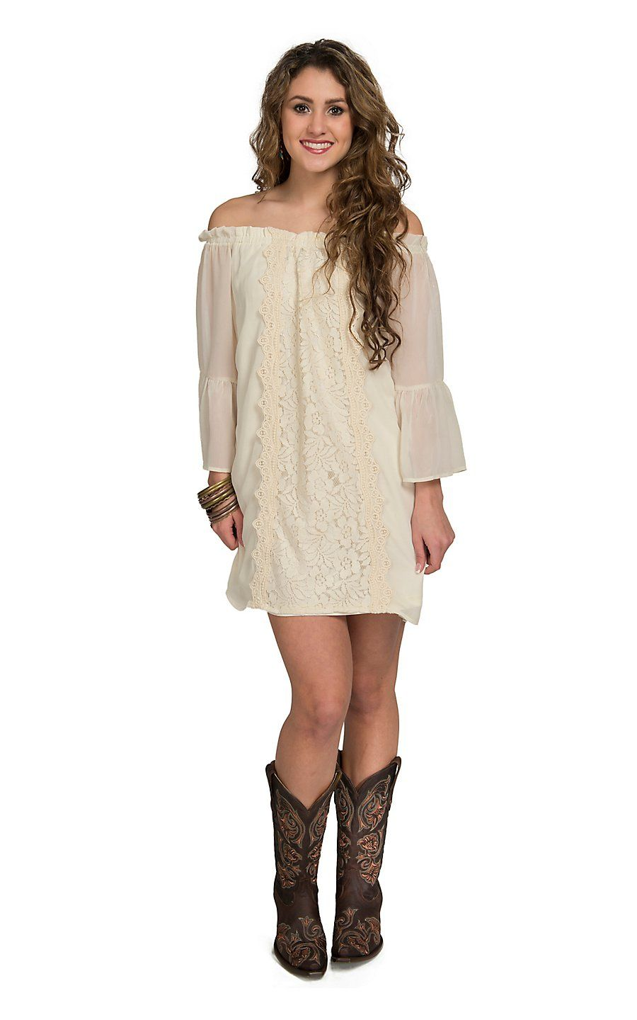 369399400c7 Flying Tomato Women s Ivory Chiffon with Lace   Crochet 3 4 Bell Sleeve  Dress- Plus Sizes