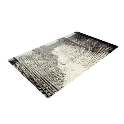 East Urban Home Jillian Audrey Welcome to the Beach Brown/Gray Area Rug Rug Size: 4' x 6'