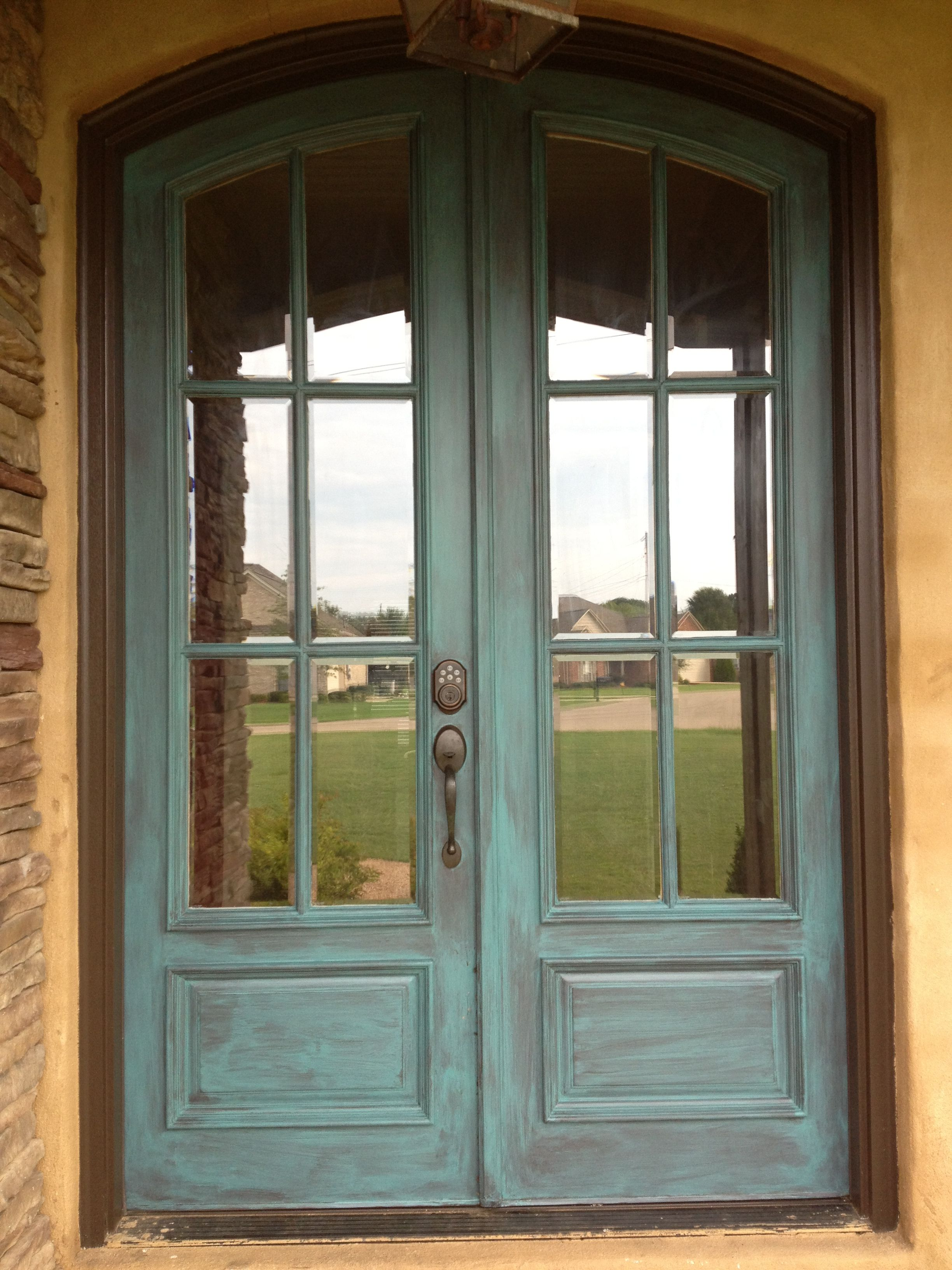 Antiqued Front Door In Blue Love The Style But Not