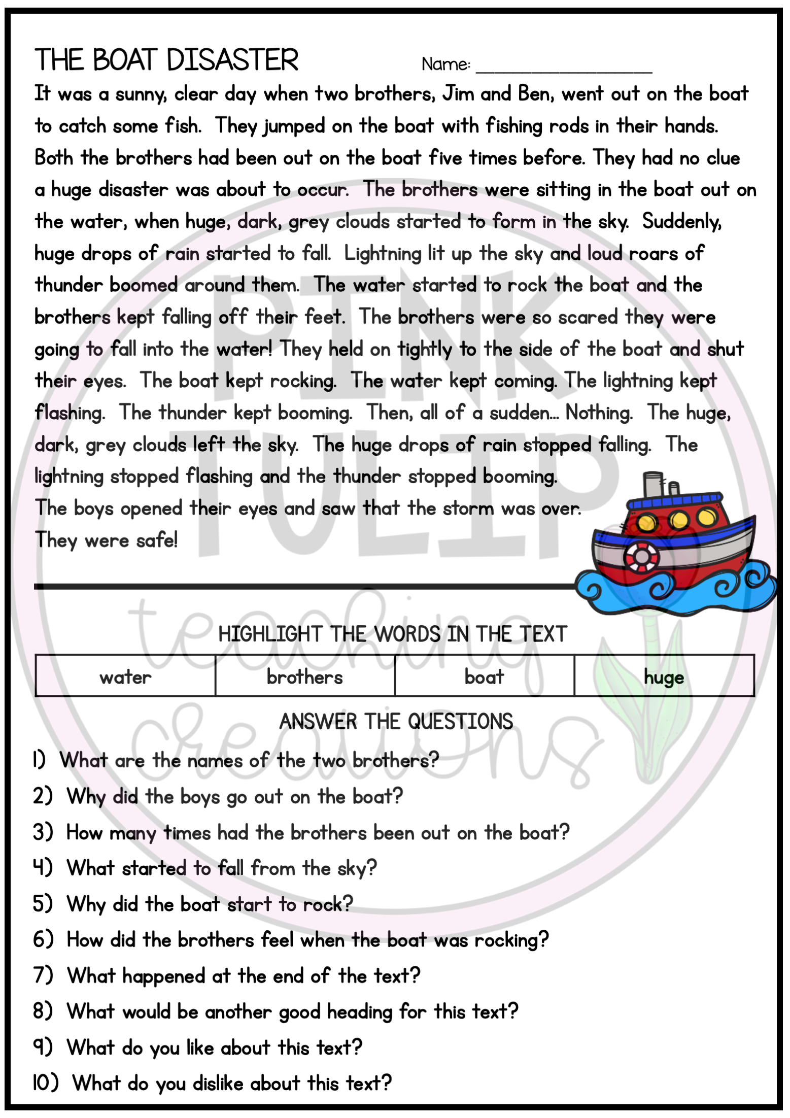 10 Page Reading Comprehension Worksheet Pack With Answers Reading Comprehension Worksheets Comprehension Worksheets Reading Comprehension [ 2203 x 1557 Pixel ]