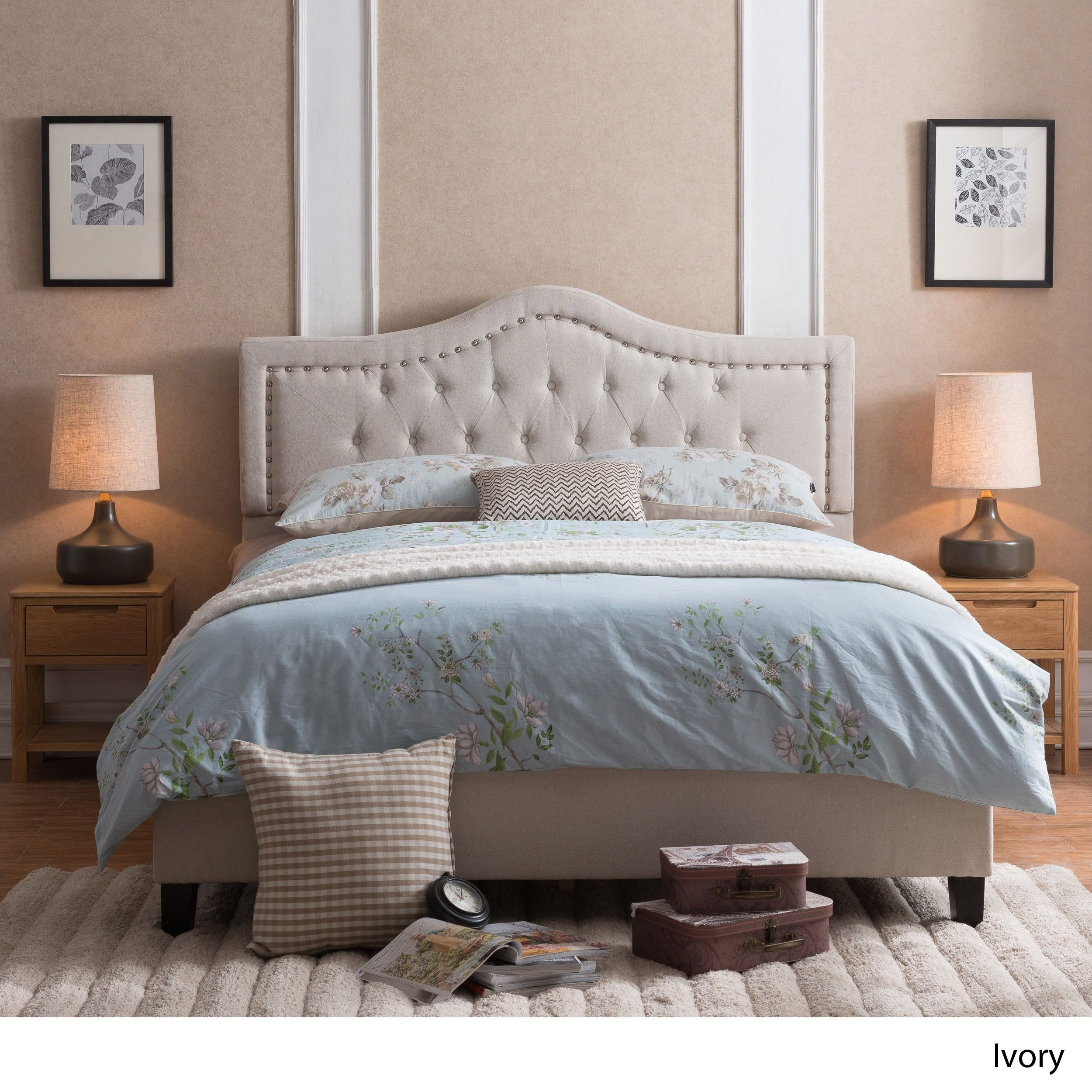 Dante Upholstered Tufted Bed Set by Christopher Knight Home