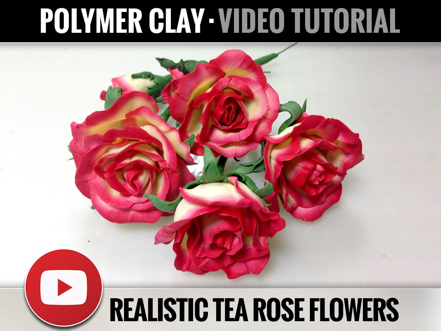 Video Tutorial - Realistic Tea Rose Flower from Polymer Clay Tutorials - Real Tea Rose Flowers - Step by Step Tutorial - Master Class - Fimo by SweetyBijou on Etsy
