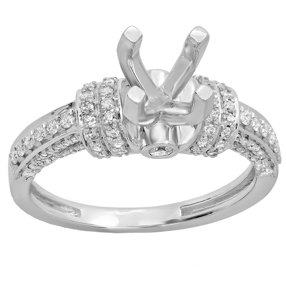 Elora 14-karatWhite/Yellow Gold Women's Bridal Semi Mount Engagement Ring With No Center Stone (White Gold - Size 4)