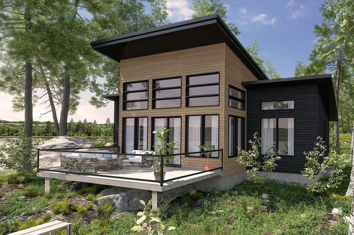 House Plan 034 01287 Contemporary Plan 1 209 Square Feet 2 Bedrooms 1 Bathroom In 2021 Mountain House Plans Small Modern House Plans Contemporary House Plans