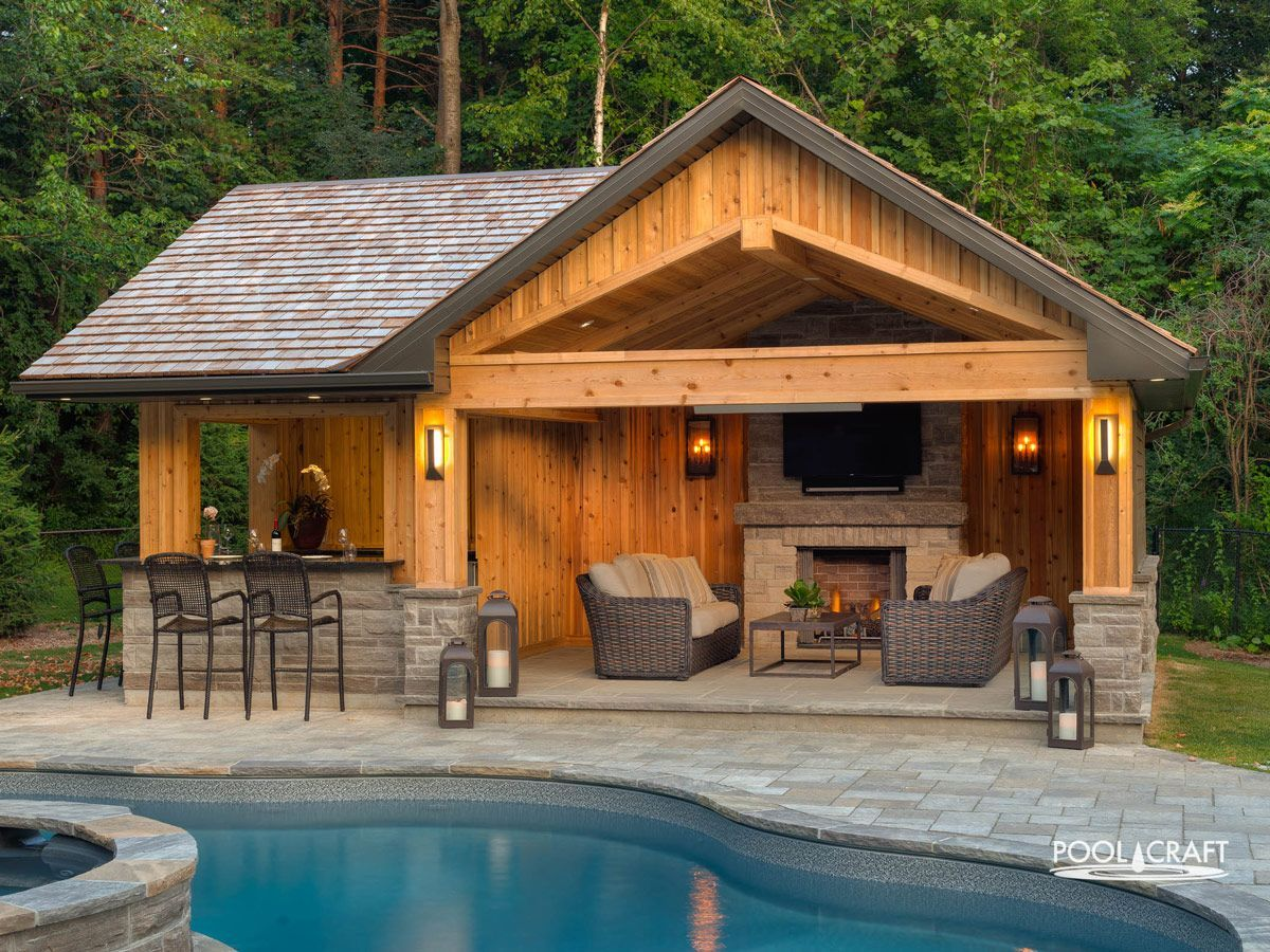 Cabanas and Woodworking - Pool Craft in 2020 | Pool house ... on Patio Cabana Ideas id=28780